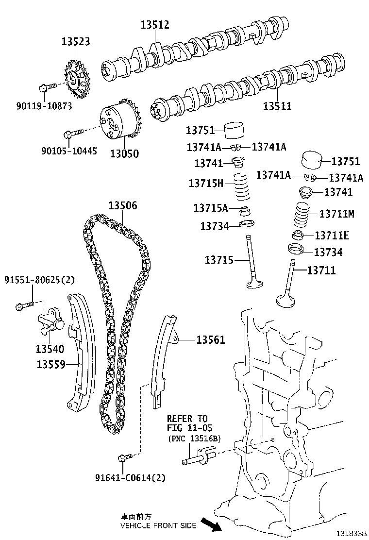 toyota prius c gear assembly  camshaft timing  engine