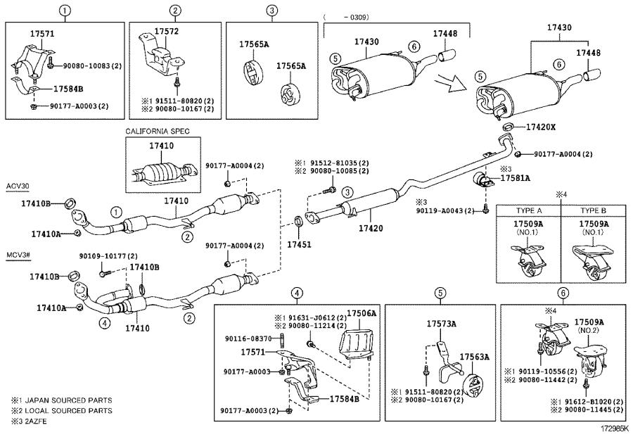 toyota camry pipe assembly  exhaust  center  engine