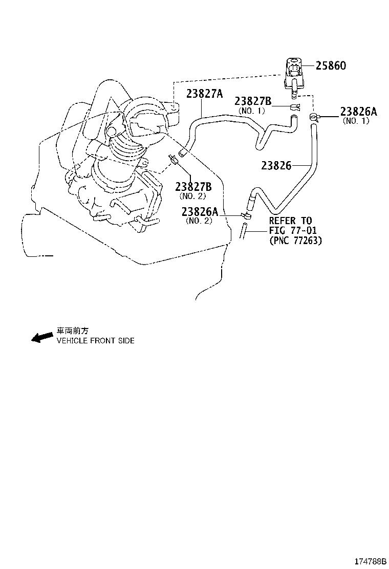 toyota camry hose sub-assembly  vacuum for idle-up   replaced by 1730831011