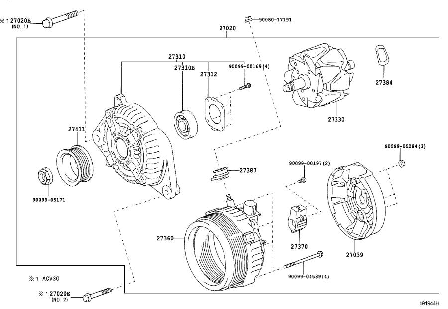 Toyota Solara Alternator Assembly  Remanufactured