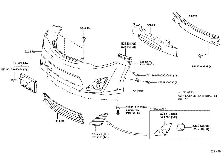 Toyota Camry Absorber  Front Bumper Energy  Body  Interior