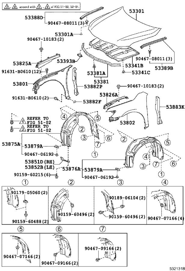 A B on 2001 Toyota Camry Front Bumper Parts Diagram