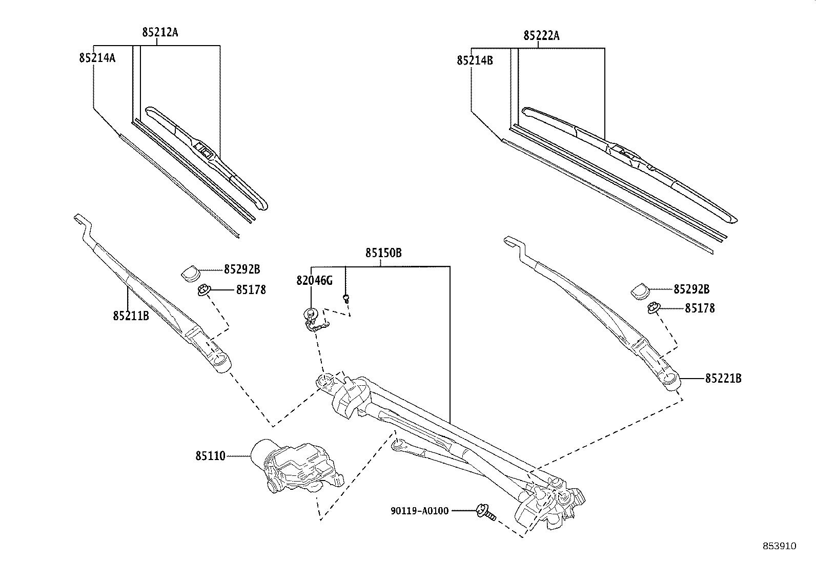 Toyota Avalon Windshield Wiper Linkage  Front   Electrical