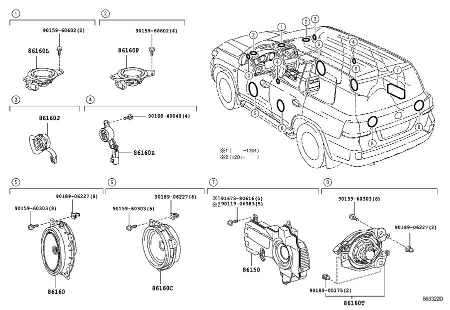 toyota land cruiser speaker  rear   emits  electrical  device