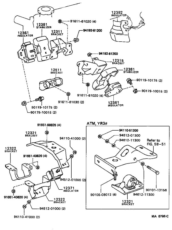 Toyota Van Insulator  Engine Mounting  Front  Components