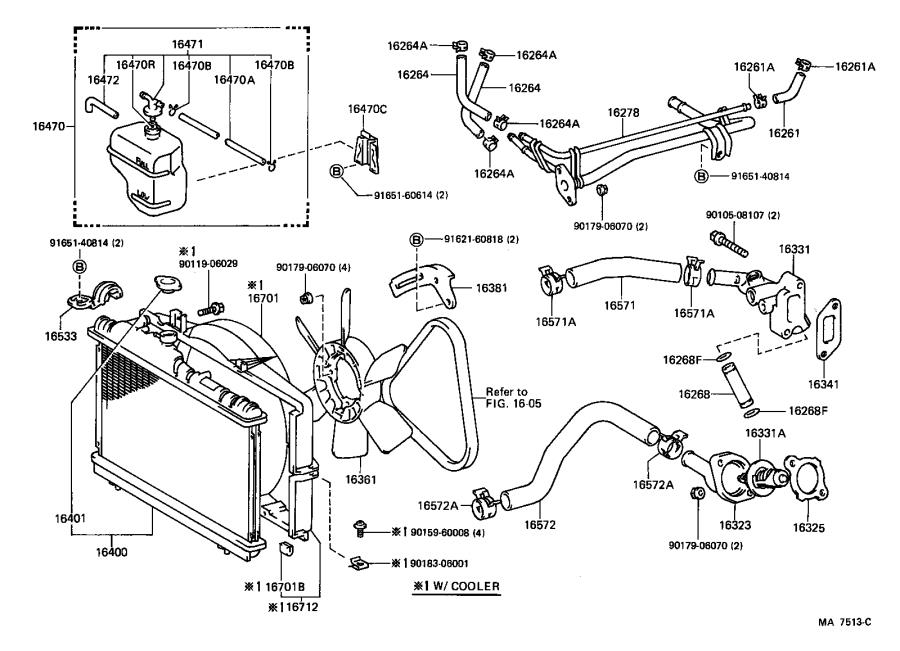 Toyota Corolla Hose, radiator, outlet. Engine, cooling ...