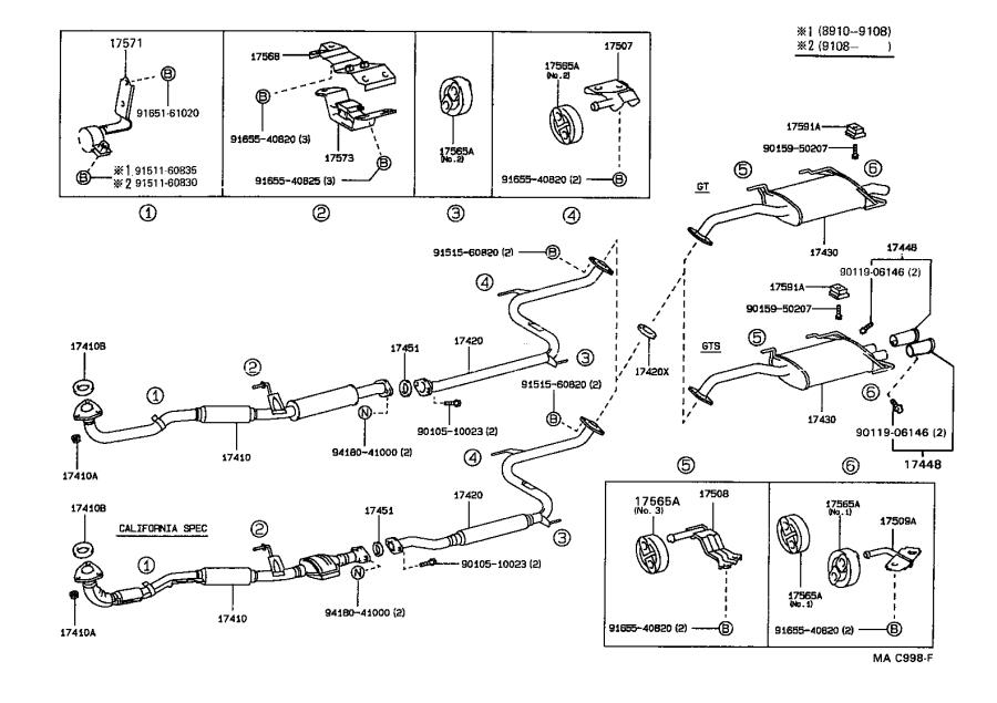 Toyota Celica Pipe Assembly  Exhaust  Center  Engine
