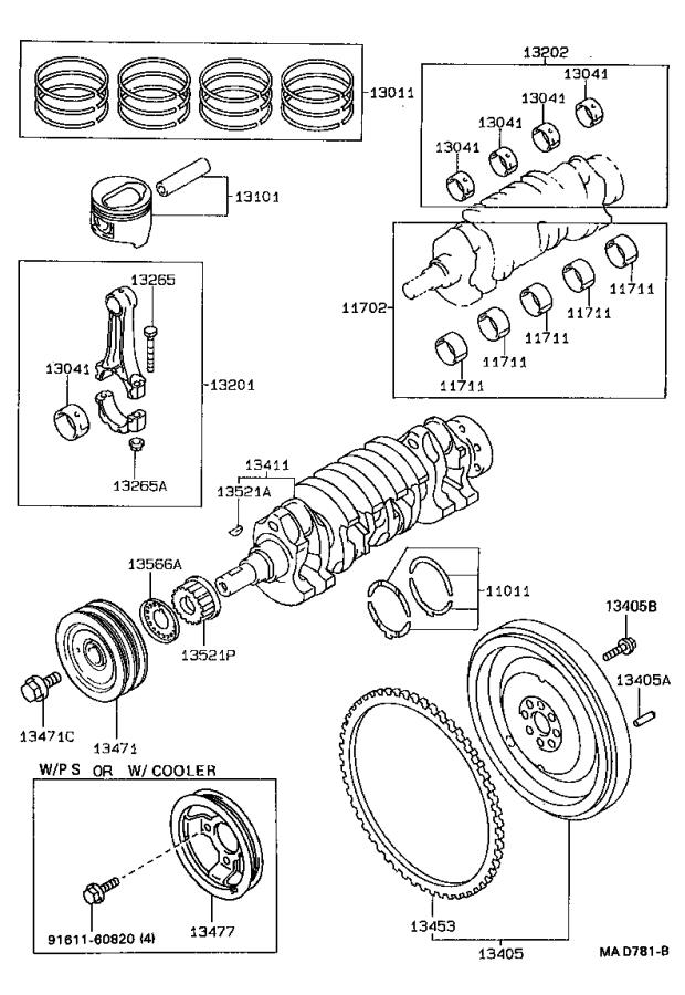 toyota paseo pulley  crankshaft  engine