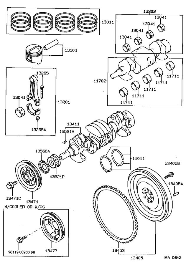 toyota tercel pulley  crankshaft timing  engine