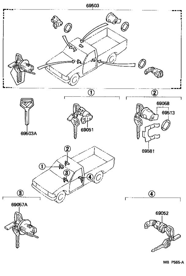 toyota truck ignition lock cylinder  cylinder and key set  ignition switch lock