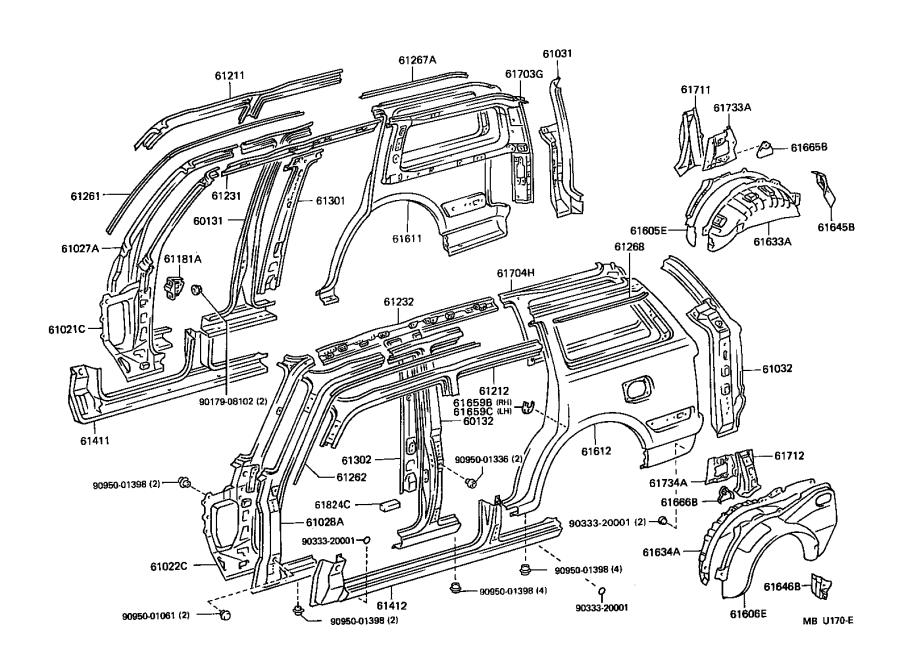 toyota land cruiser extension sub-assembly  quarter panel  rear lower right