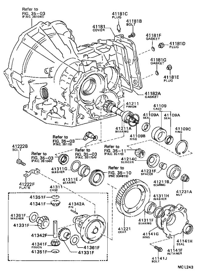 toyota tercel automatic transmission differential bearing  front  rear   bearing