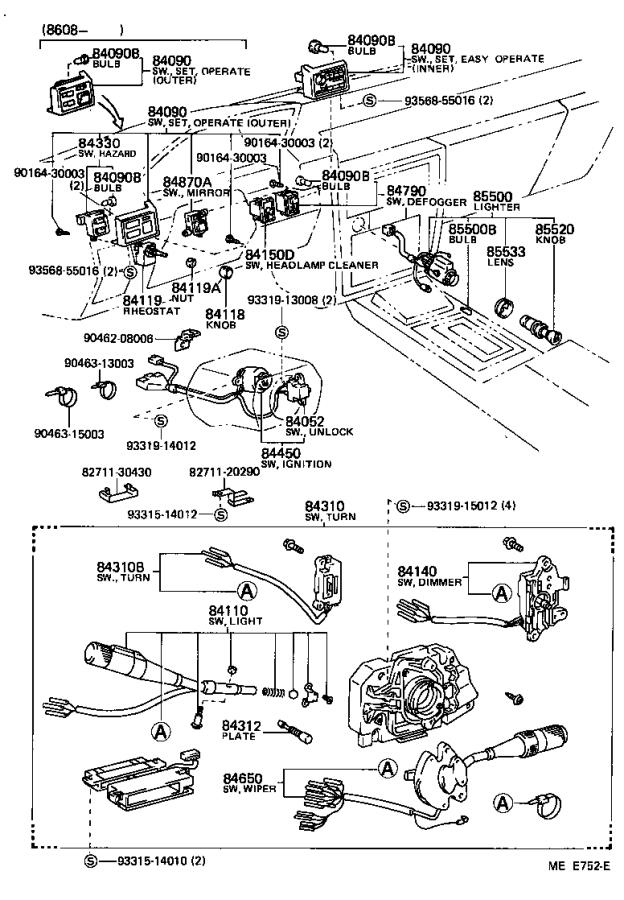 Toyota Cressida Breaker assembly. Wiring circuit, no. 1 ...