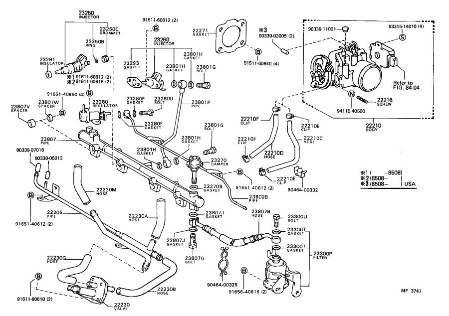 Toyota Camry Hose  Fuel Delivery Pipe  System  Injection
