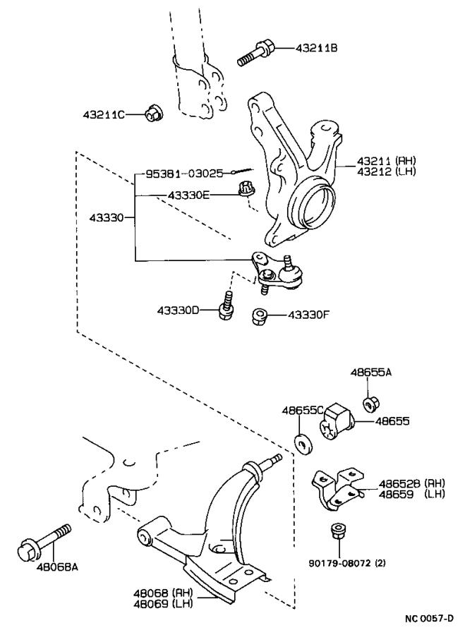 Toyota Corolla Bracket  Front Lower Arm  Right  Suspension